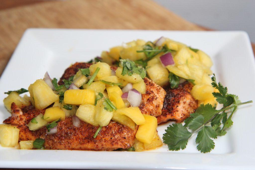 Salmon wPineapple Mango Salsa